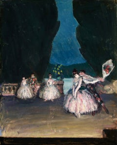 Harlequin et Danseuse - Post Impressionist Oil, Figures in Interior by M Cosson