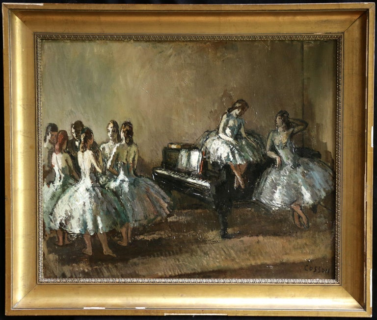 Les Danseurs - Post Impressionist Oil, Ballerinas in Interior by Jean Cosson - Painting by Jean-Louis-Marcel Cosson
