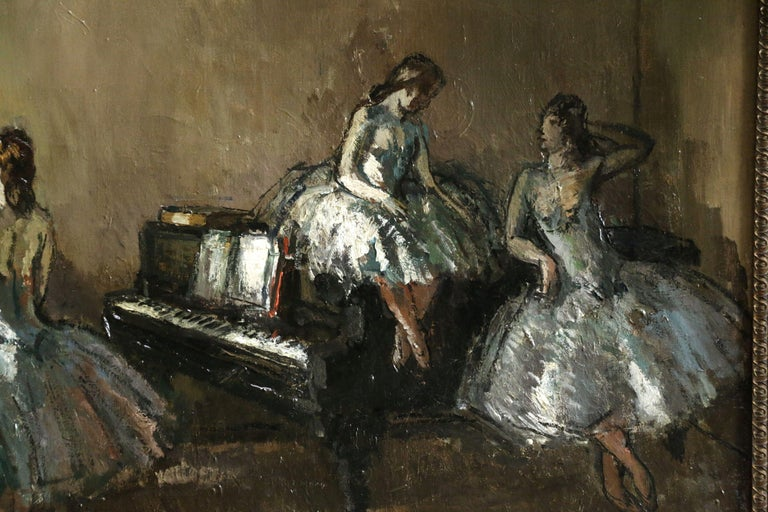 Les Danseurs - Post Impressionist Oil, Ballerinas in Interior by Jean Cosson - Post-Impressionist Painting by Jean-Louis-Marcel Cosson