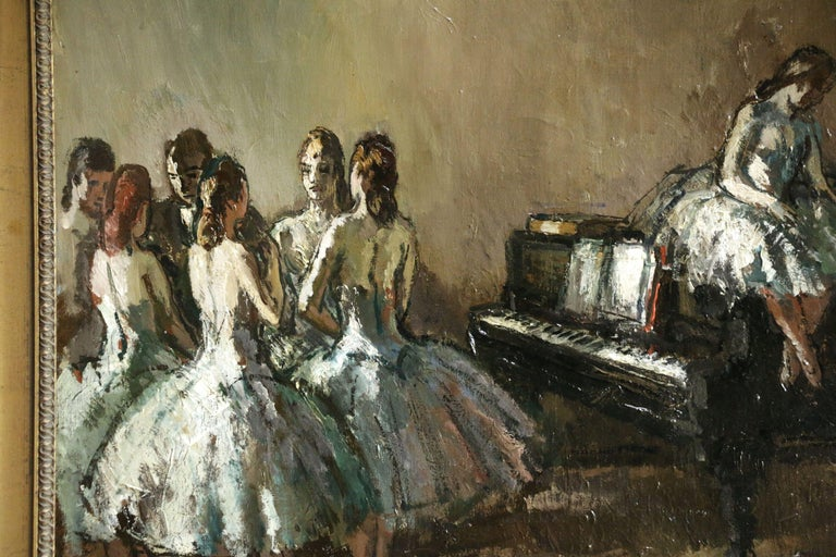 Les Danseurs - Post Impressionist Oil, Ballerinas in Interior by Jean Cosson - Brown Figurative Painting by Jean-Louis-Marcel Cosson
