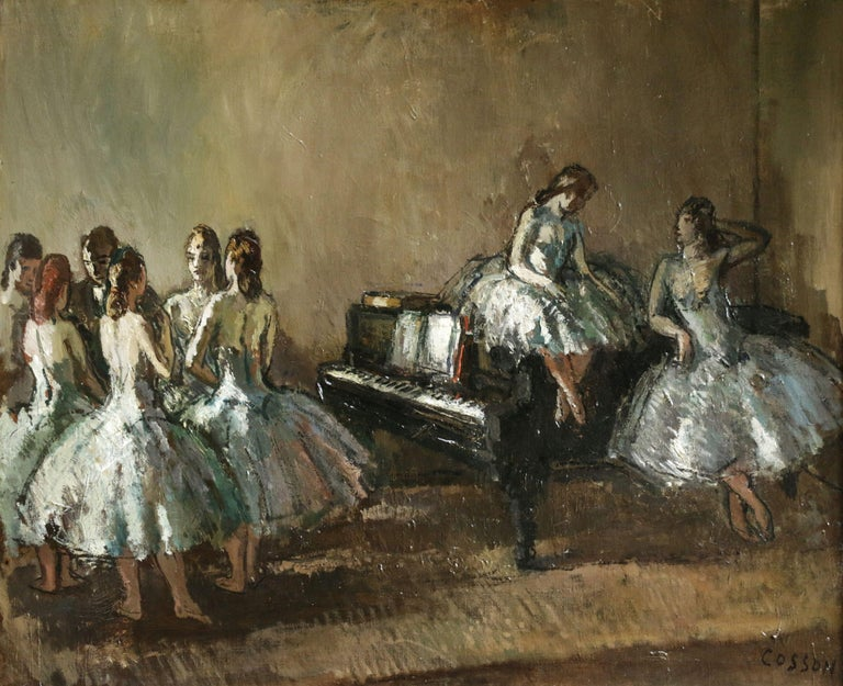 Jean-Louis-Marcel Cosson Figurative Painting - Les Danseurs - Post Impressionist Oil, Ballerinas in Interior by Jean Cosson
