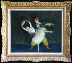 Pierrot & Dancer - 20th Century Oil, Figures Dancing in Interior by Cosson