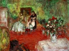 Women in Interior - Post Impressionist Figurative Oil - Jean-Louis-Marcel Cosson