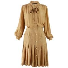 Jean Louis Scherrer 1970s Silk Pussybow Blouson Dress