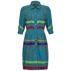 Jean - Louis Scherrer 1980s Colourful Batik Print Silk Shirt Dress