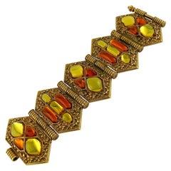 Jean Louis Scherrer (attributed to) Vintage Gold Toned Resin Cabochons Bracelet
