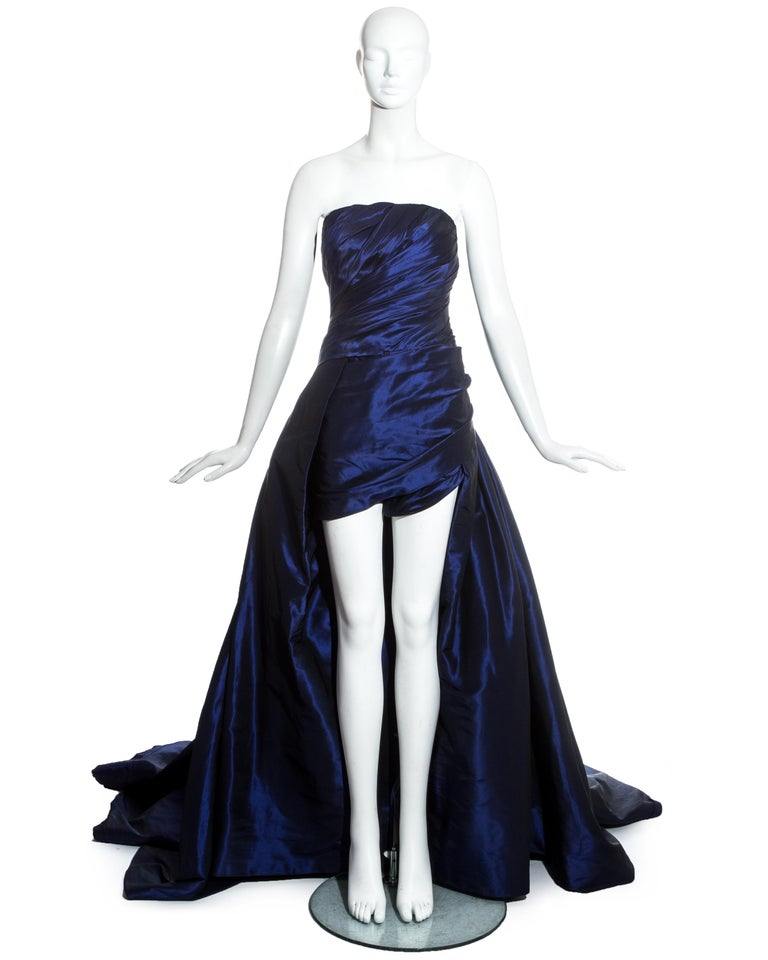 Jean-Louis Scherrer Haute Couture, blue taffeta evening gown with dramatic sweeping train, ruched bodice and internal playsuit with boning.  Spring-Summer 1994
