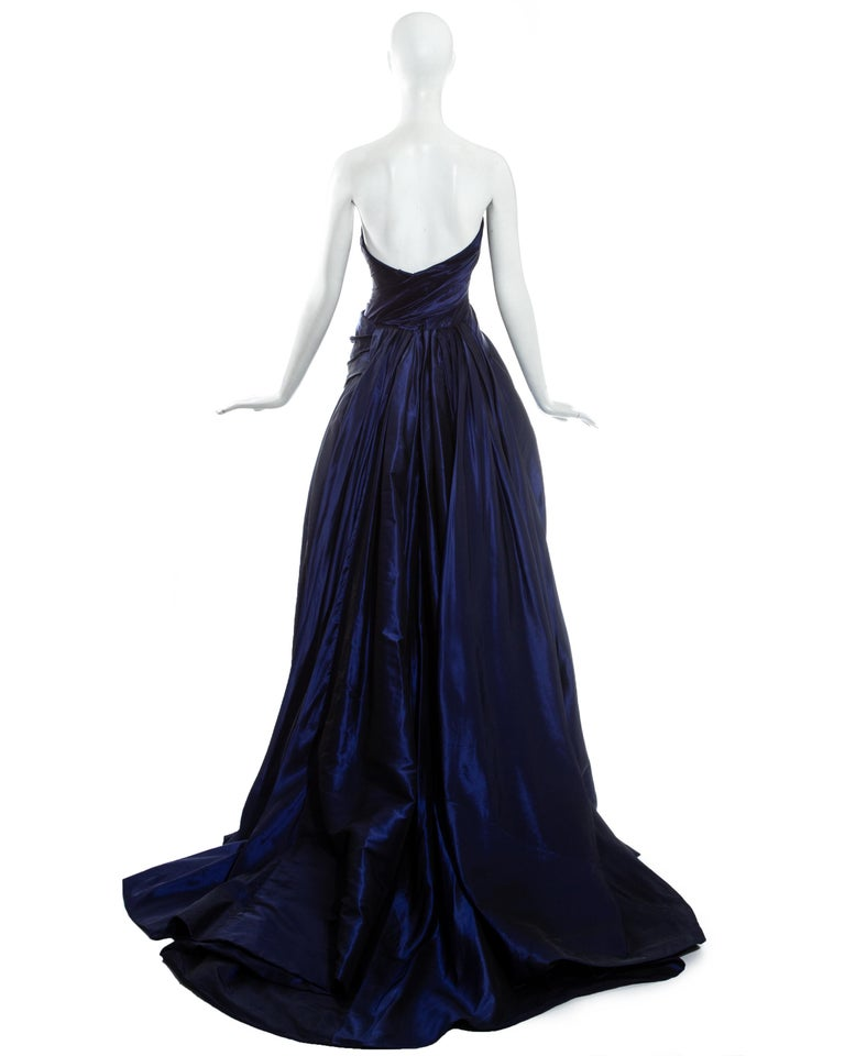 Jean-Louis Scherrer blue taffeta evening gown with sweeping train, ss 1994 For Sale 1