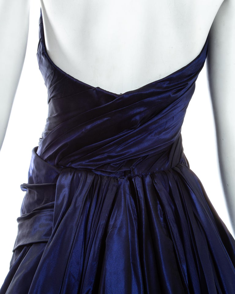 Jean-Louis Scherrer blue taffeta evening gown with sweeping train, ss 1994 For Sale 2
