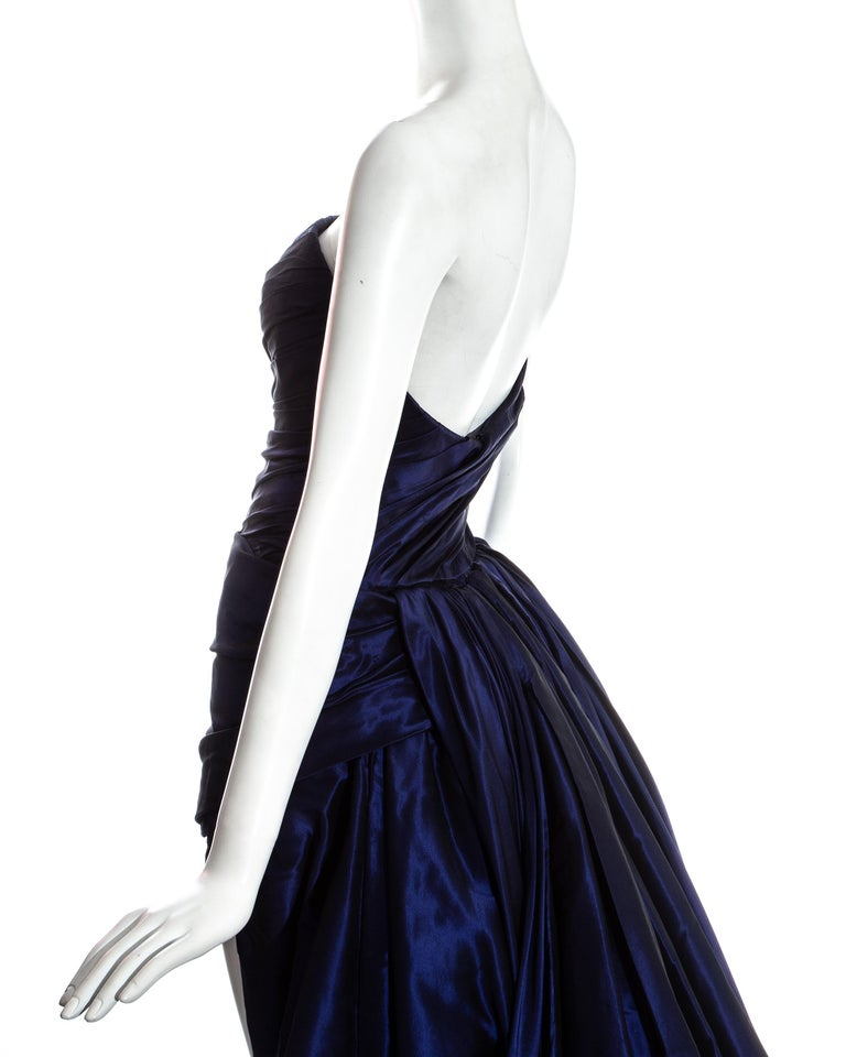Jean-Louis Scherrer blue taffeta evening gown with sweeping train, ss 1994 For Sale 3