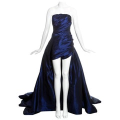 Jean-Louis Scherrer blue taffeta evening gown with sweeping train, ss 1994