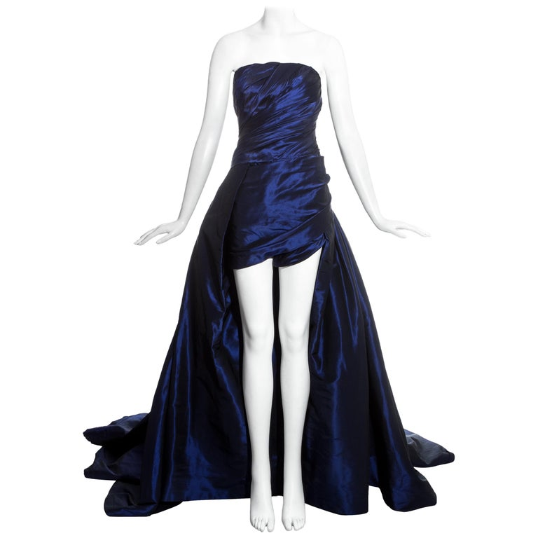 Jean-Louis Scherrer blue taffeta evening gown with sweeping train, ss 1994 For Sale