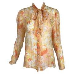 Jean Louis Scherrer Boutique Abstract Floral Ribbon Stripe Silk Blouse 1990s