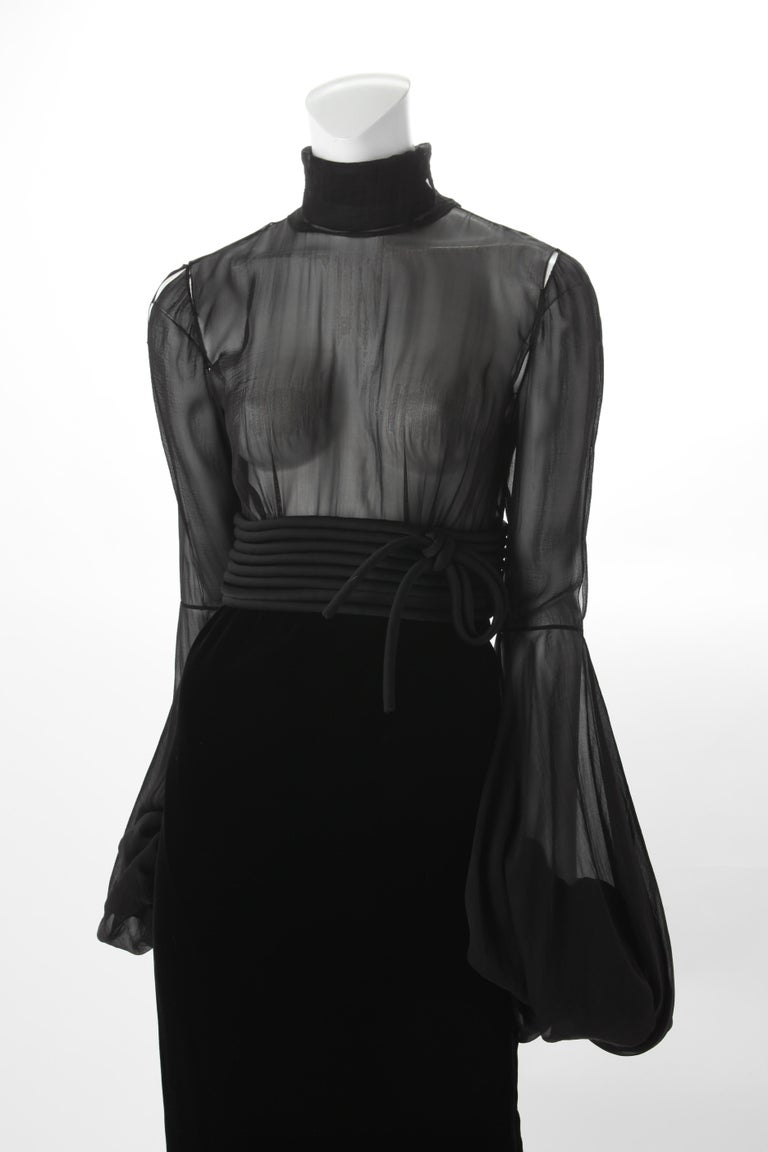 Jean-Louis Scherrer by Stephane Rolland Black Dress with Rouleux Waistband, 2003 In Good Condition For Sale In New York, NY