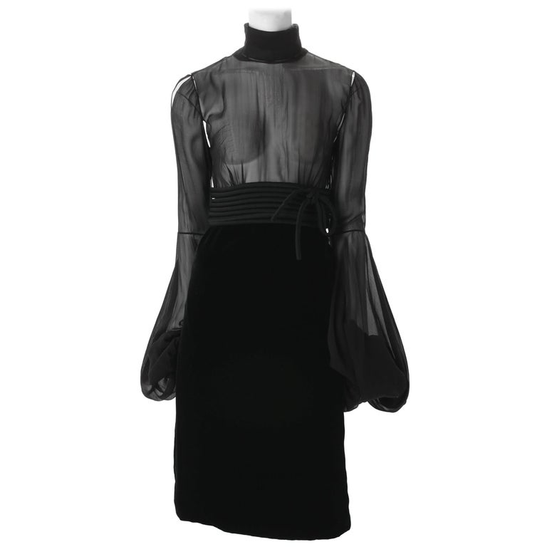 Jean-Louis Scherrer by Stephane Rolland Black Dress with Rouleux Waistband, 2003 For Sale