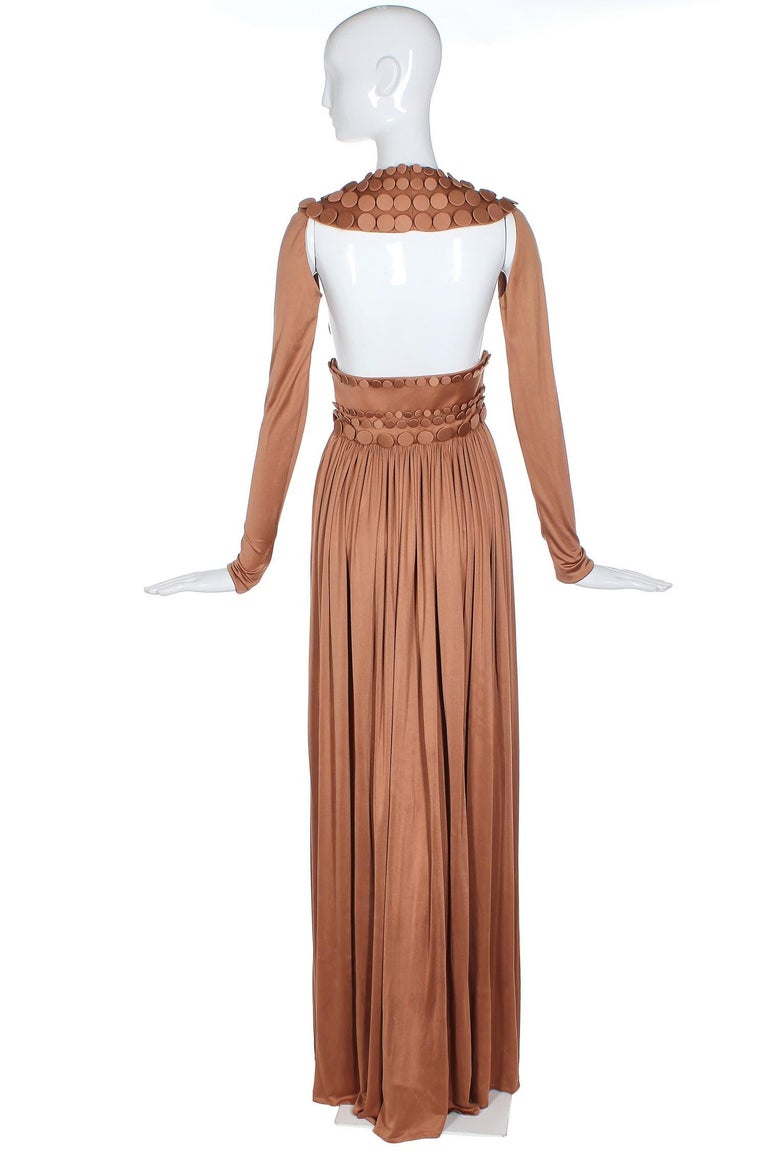 Jean-Louis Scherrer caramel-colored haute couture runway sample gown from Sprint Summer 2007. In very good to excellent condition with some scattered hard to see marks on the skirt. Please see measurements. MEASUREMENTS: Bust - 28