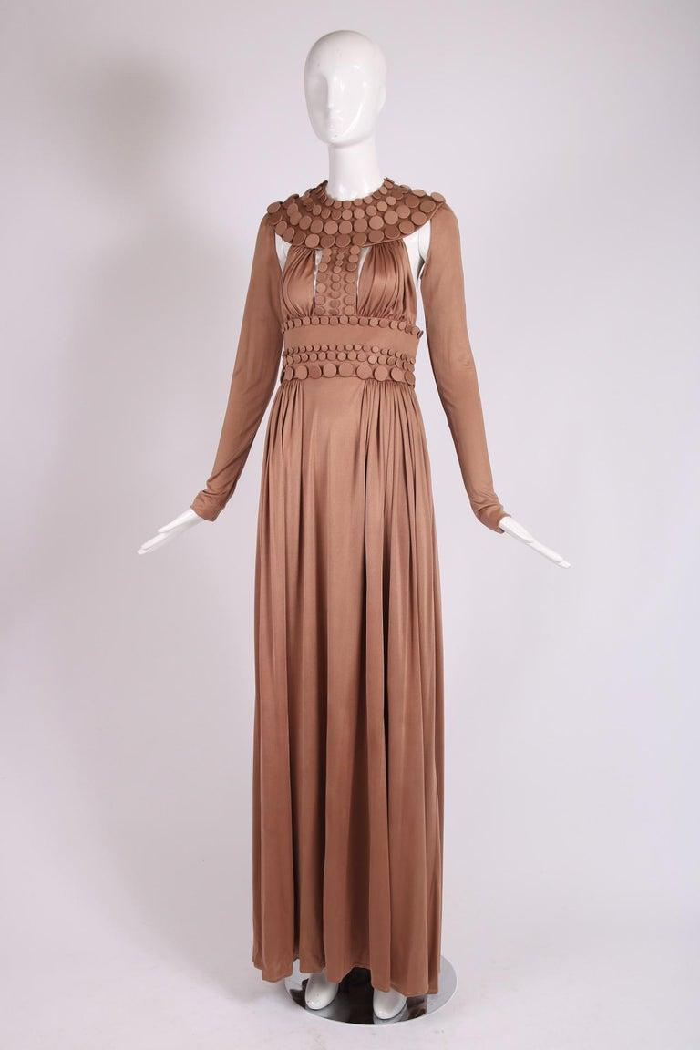 Brown Jean-Louis Scherrer Caramel Silk Jersey Haute Couture Button Gown 2007 S/S For Sale