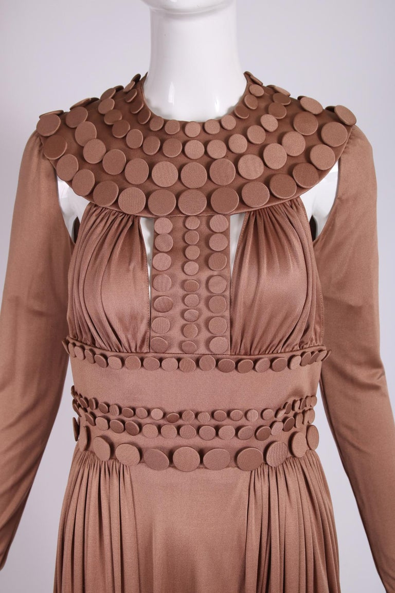 Jean-Louis Scherrer Caramel Silk Jersey Haute Couture Button Gown 2007 S/S In Good Condition For Sale In Los Angeles, CA