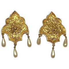 Jean-Louis Scherrer Gold Shield With Pearl Dangle Earrings