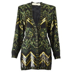 Jean Louis Scherrer Haute Couture Hand Beaded Embroidered & Sequin Jacket, 1980s