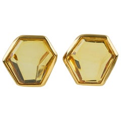 Jean Louis Scherrer Clip Earrings Yellow Cabochon