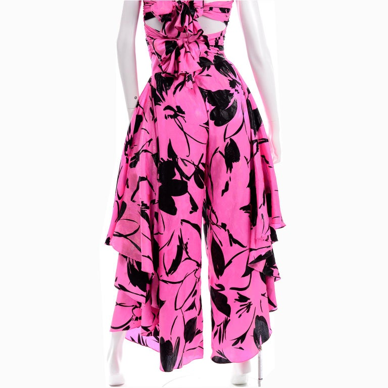 Jean-Louis Scherrer Pink & Black Wide Leg Pants & Bandeau Top Evening Dress Alt For Sale 8