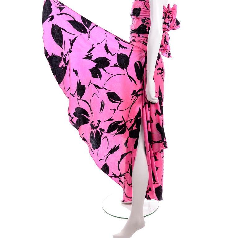 Jean-Louis Scherrer Pink & Black Wide Leg Pants & Bandeau Top Evening Dress Alt For Sale 9