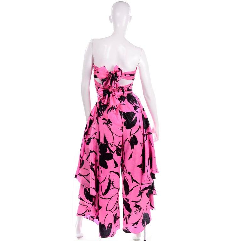 Women's Jean-Louis Scherrer Pink & Black Wide Leg Pants & Bandeau Top Evening Dress Alt For Sale