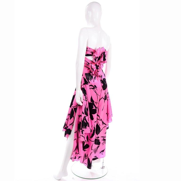 Jean-Louis Scherrer Pink & Black Wide Leg Pants & Bandeau Top Evening Dress Alt For Sale 2