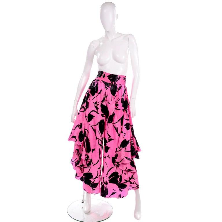 Jean-Louis Scherrer Pink & Black Wide Leg Pants & Bandeau Top Evening Dress Alt For Sale 4
