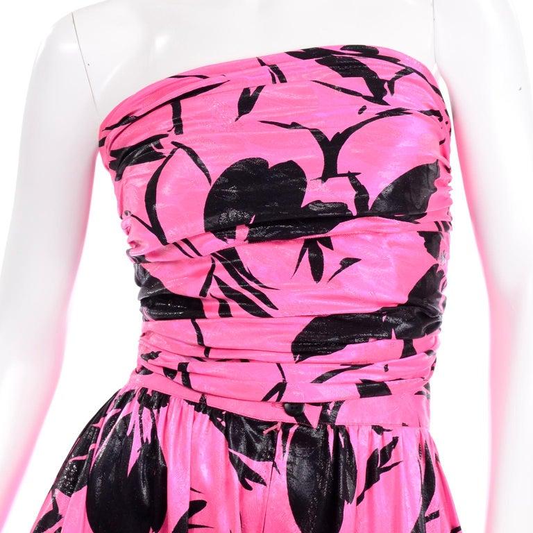Jean-Louis Scherrer Pink & Black Wide Leg Pants & Bandeau Top Evening Dress Alt For Sale 5