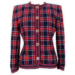 Jean Louis Scherrer Red Blue Wool Tartan Check Jacket