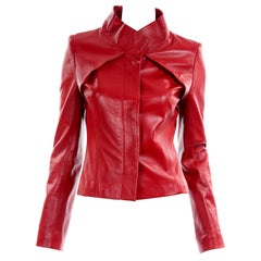 Jean-Louis Scherrer Red Lambskin Leather Jacket With Unique Pleating