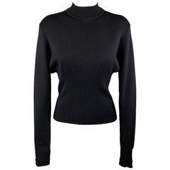 JEAN-LOUIS SCHERRER Size 6 Black Wool / Silk Blend Mock Neck Sweater