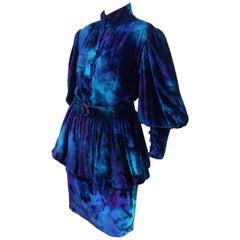 Jean-Louis Scherrer Tie Dye Velvet Skirt Suit With Peplum Jacket, C.1980
