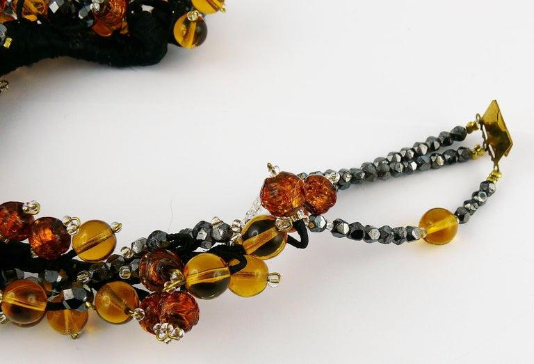 Jean Louis Scherrer Vintage Amber and Jet black Glass Beads Cluster Necklace For Sale 6