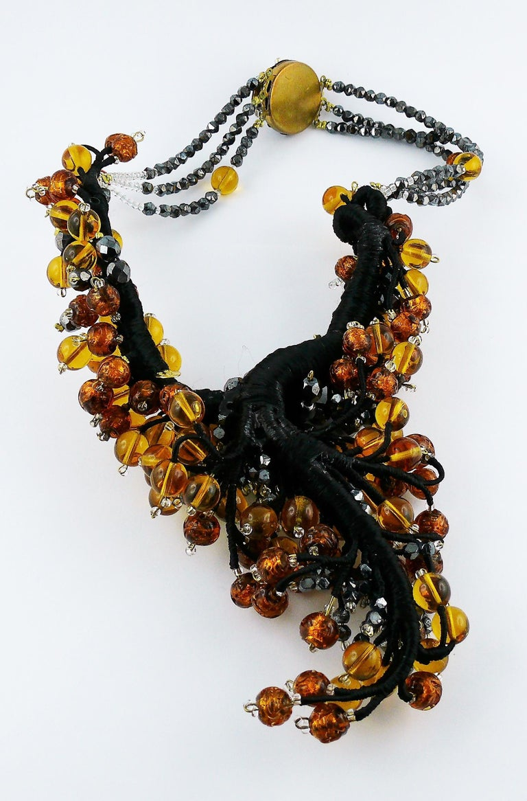 Jean Louis Scherrer Vintage Amber and Jet black Glass Beads Cluster Necklace For Sale 7