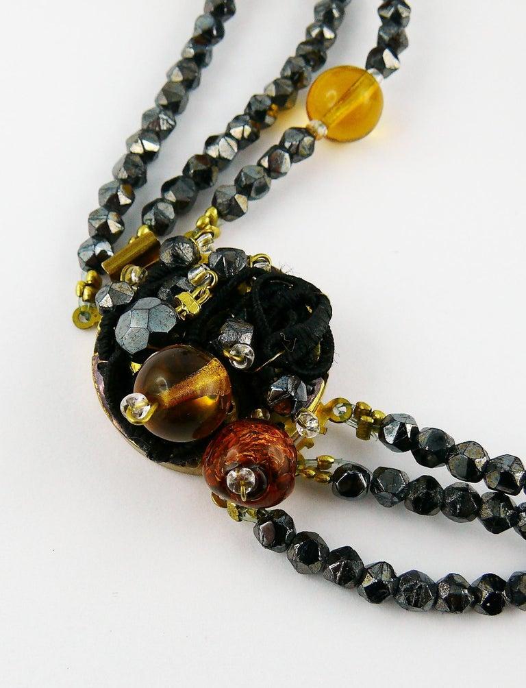 Jean Louis Scherrer Vintage Amber and Jet black Glass Beads Cluster Necklace For Sale 8