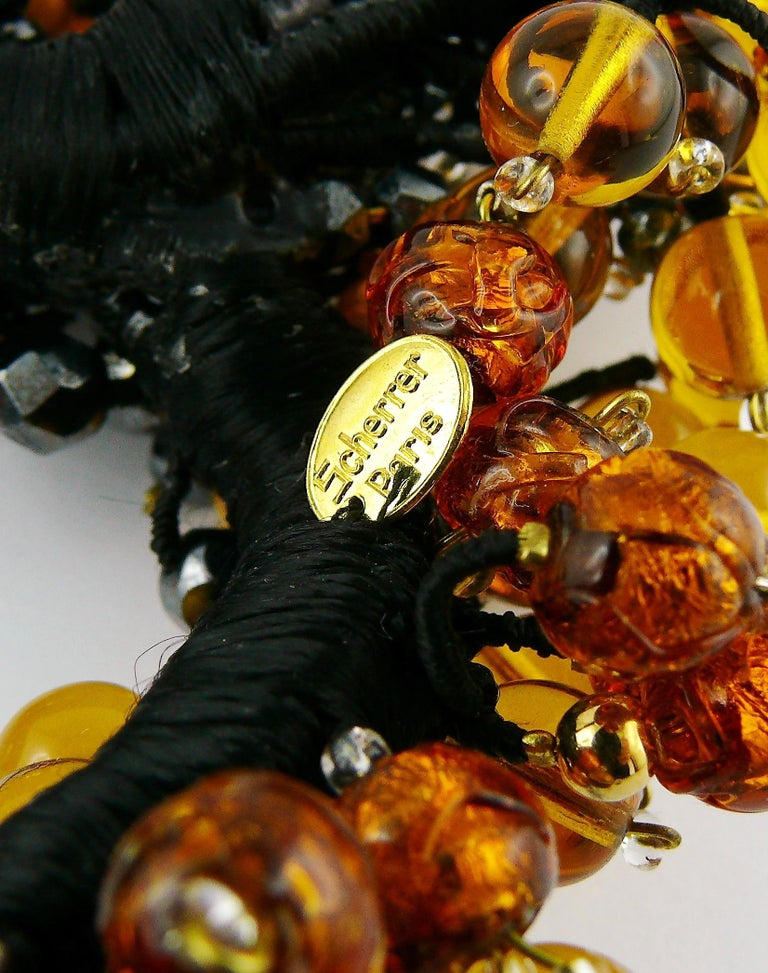 Jean Louis Scherrer Vintage Amber and Jet black Glass Beads Cluster Necklace For Sale 9