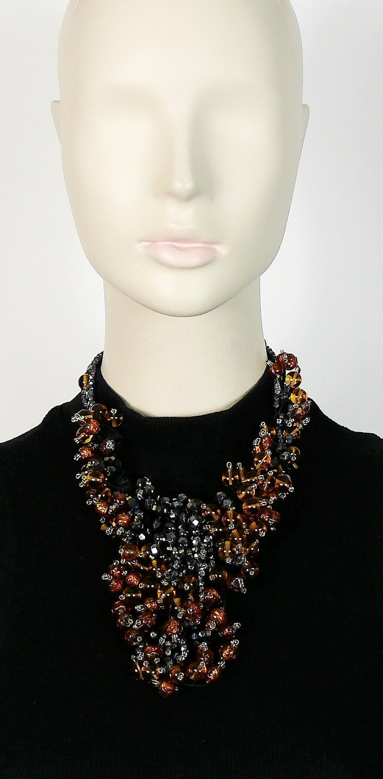JEAN LOUIS SCHERRER gorgeous vintage amber and jet black glass beads cluster necklace.  Marked SCHERRER Paris.  JEWELRY CONDITION CHART - New or never worn : item is in pristine condition with no noticeable imperfections - Excellent : item has been