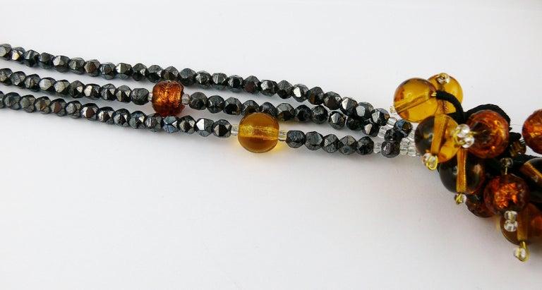 Women's Jean Louis Scherrer Vintage Amber and Jet black Glass Beads Cluster Necklace For Sale