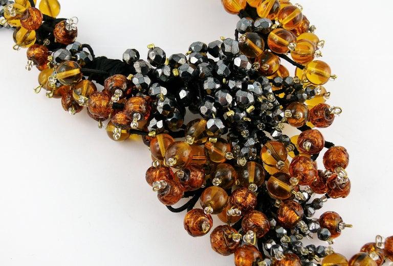 Jean Louis Scherrer Vintage Amber and Jet black Glass Beads Cluster Necklace For Sale 2