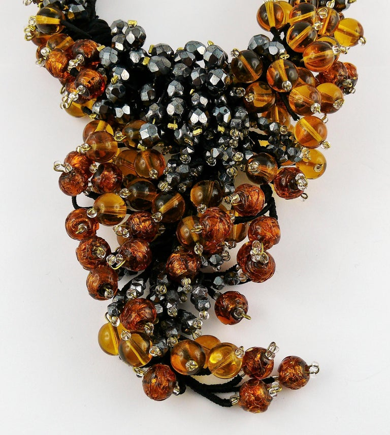 Jean Louis Scherrer Vintage Amber and Jet black Glass Beads Cluster Necklace For Sale 3