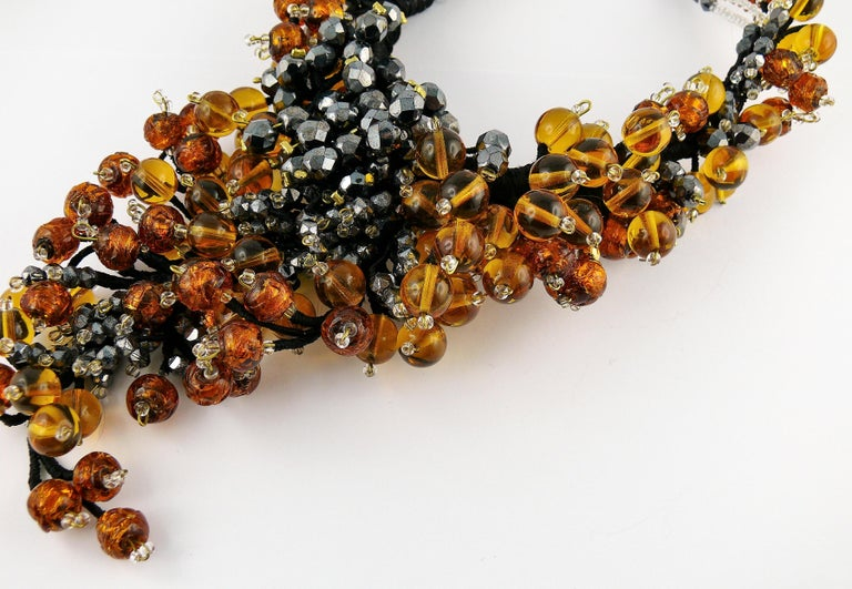 Jean Louis Scherrer Vintage Amber and Jet black Glass Beads Cluster Necklace For Sale 4