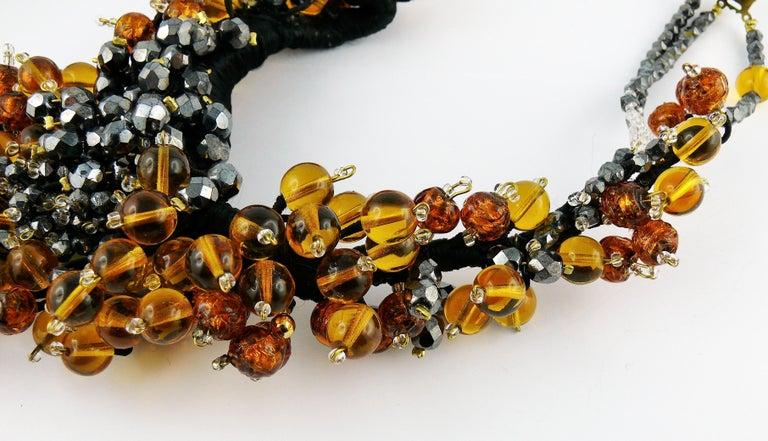 Jean Louis Scherrer Vintage Amber and Jet black Glass Beads Cluster Necklace For Sale 5