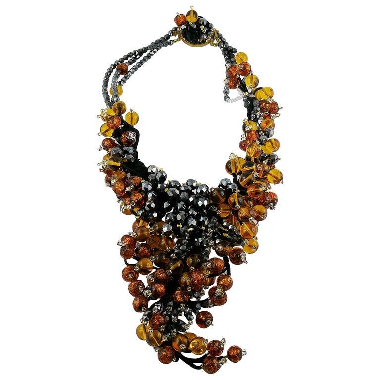 Jean Louis Scherrer Vintage Amber and Jet black Glass Beads Cluster Necklace For Sale