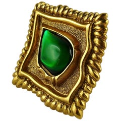 Jean Louis Scherrer Vintage Gold Toned and Green Cabochon Diamond-Shaped Brooch
