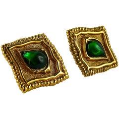 Jean Louis Scherrer Vintage Gold Toned & Green Cabochon Diamond-Shaped Earrings