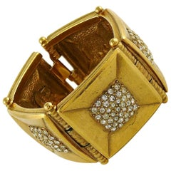 Jean Louis Scherrer Vintage Gold Toned Jewelled Bracelet