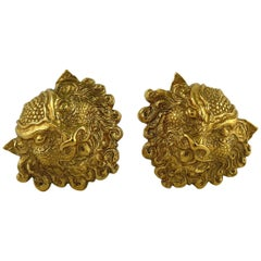 Jean Louis Scherrer Vintage Gold Toned Mythological Creature Clip-On Earrings